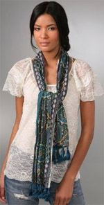 juicy, Juicy Couture, scarf, lightweight scarf, boho scarf, Juicy COuture boho border scarf