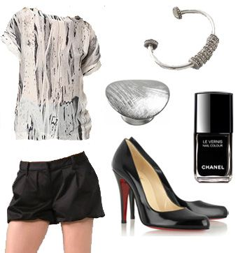 Look 1 collage use, Lauren Conrad, Fashion, style, Ecote, Elizabeth and James, Christian Louboutin, Chanel, Banana republic, Giles & Brother