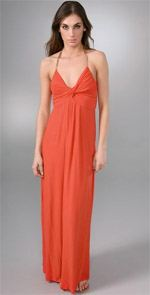 t bags, dress, maxi dress, orange dress