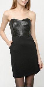 silence & noise, dress, black dress, strapless black dress
