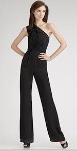 shoshanna, black jumpsuit, fashion, style, once shoulder jumpsuit