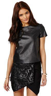 Codeya PU Detail Origami Skirt